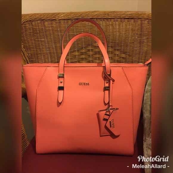 8757bcafb39 Guess Bags   Final Sale Large Peach Tote Nwot   Poshmark