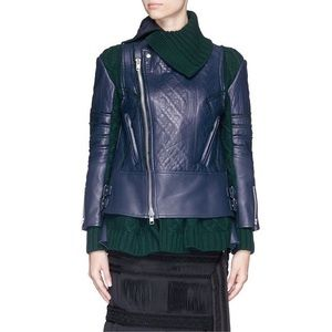 Sacai Leather Biker Jacket with Cable Knit Panel