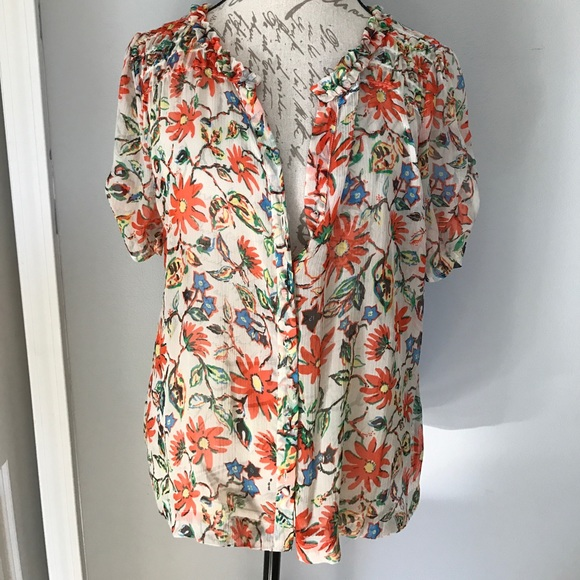 90eb1150a7354 Joie Tops - Joie Orange Floral blouse