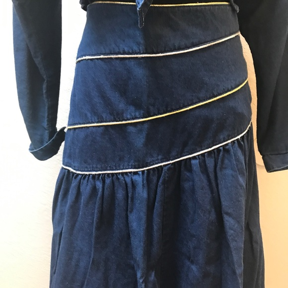 Vintage Dresses - Vintage Denim skirt top set / dress