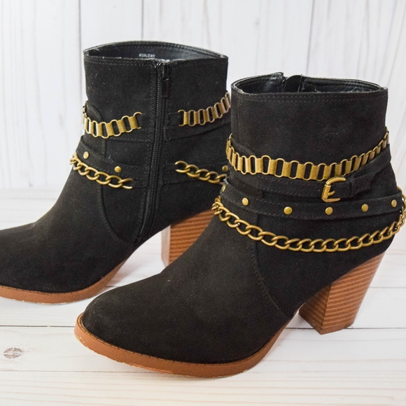 Black Booties with Gold Chains