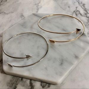 Open Arrow Gold Silver Metal Cuff Bangle Bracelet