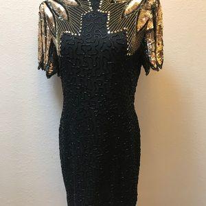 Vintage Dresses - 100% silk Sequins cocktail dress
