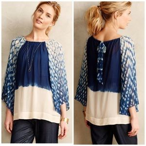 Anthropologie Hollis Top Blue Flowy Size Small P