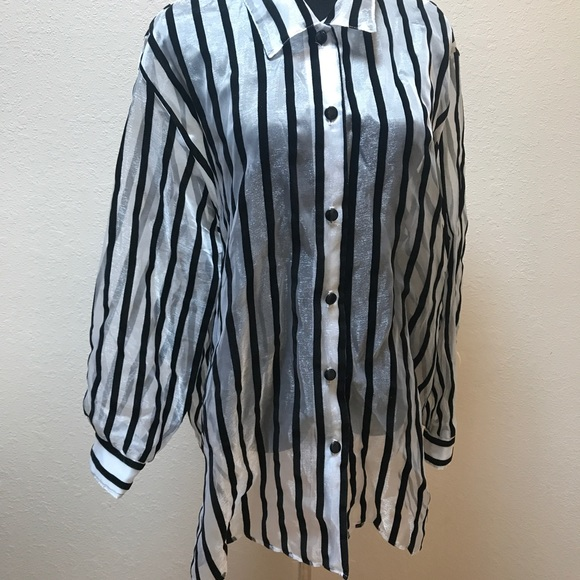 Vintage Tops - Vintage Sheer striped top blouse