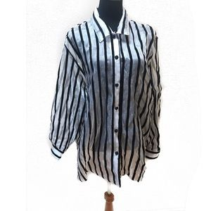 Vintage Sheer striped top blouse