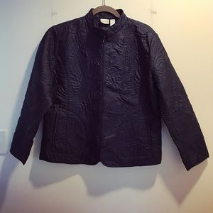 Navy blue lightweight quilted nylon jacket