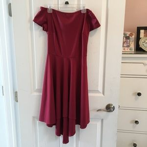 Off the shoulder fit and flare red dress