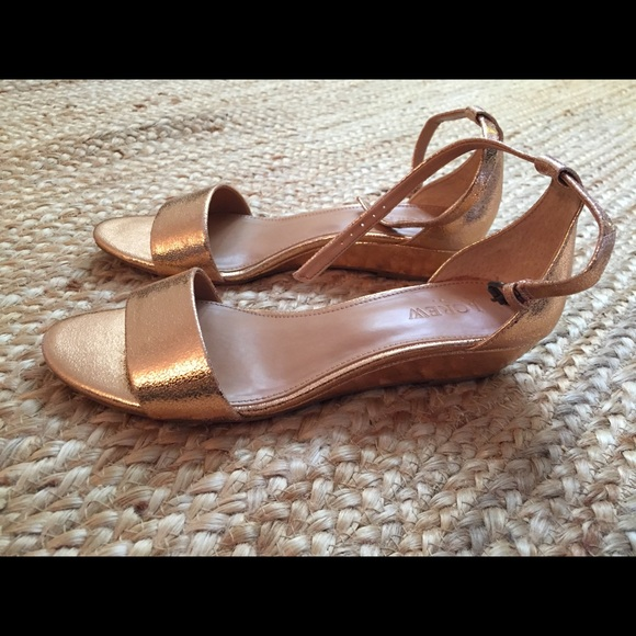 11612231c418a3 J. Crew Factory Shoes - J.Crew Factory Demi-wedge rose gold sandal