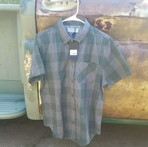 New Green and gray button down shirt