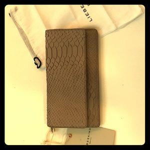 Liebeskind hand cut python tan wallet!