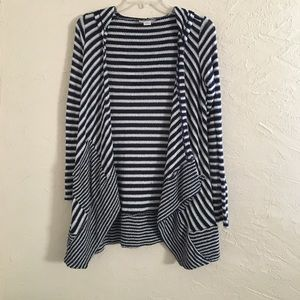 Navy Striped Hooded Cardigan