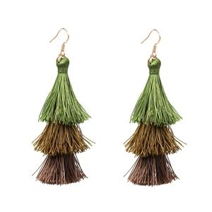 Jewelry - Green & Brown Ombré Fringe Tassel Earrings