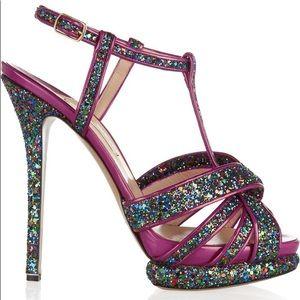Nicholas Kirkwood Glitter Purple T-Strap Heels