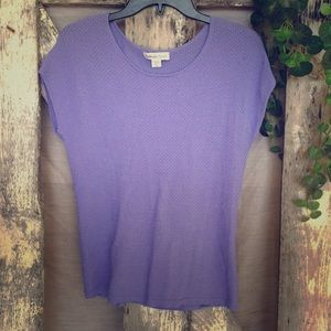 Purple Knitted Coldwater Creek Short Sleeve Shirt