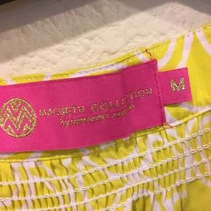 Macbeth Collection by  Margaret Josephs Tops - Margaret Josephs yellow printed lace up blouse