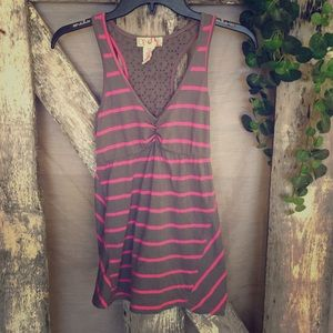 Pink And Gray Racer Back Tank Top
