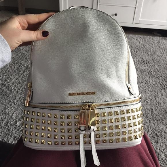 e99d31bcd8d7 Michael Kors Rhea Large Studded Backpack. M 59ce7f434225bed6fc01404c