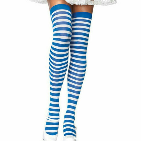 0597c0559b9 Accessories - (BABY BLUE) Nylon Striped Thigh Highs