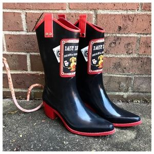 Rockabilly Rain Boots, Rubber Cowboy Boots, 7