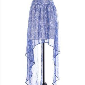 Ecoté Blue Print High-Low Skirt