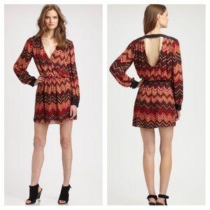 Parker red silk beaded v back dress