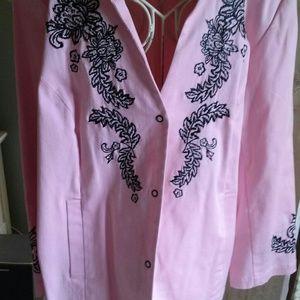 Something away pink and black blazer