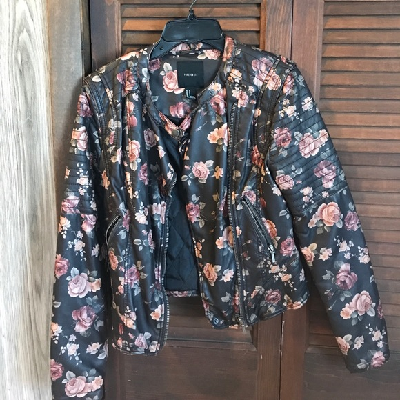 0eb617d7b Floral faux leather moto jacket. Forever 21.