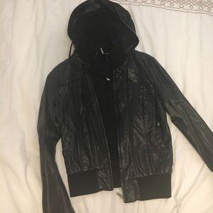 Black bomber jacket with detachable hood