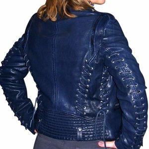 Barbara Bui Blue Lace Up Leather Motorcycle Jacket