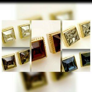 Gold Swarovski Square Earrings