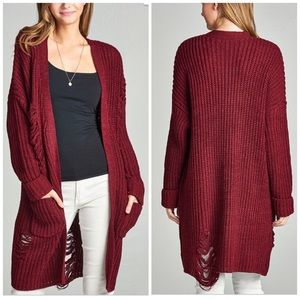 Sweaters - Burgundy Distress Oversize Cardigan