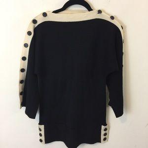 L.A.M.B. Wool Black Cream Button Ribbed Sweater
