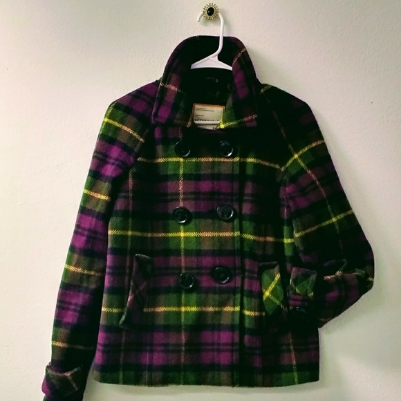 Aeropostale Jackets & Blazers - Warm Plaid Pea Jacket in Purple, Black & Green