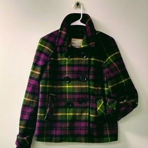Warm Plaid Pea Jacket in Purple, Black & Green
