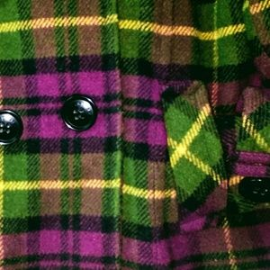 Aeropostale Jackets & Coats - Warm Plaid Pea Jacket in Purple, Black & Green