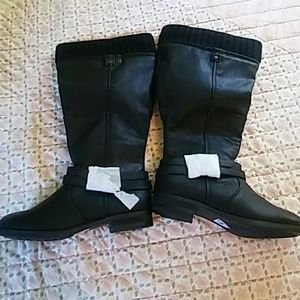 Black over the calf boots