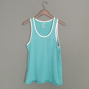PACSUN▪On the BYAS Teal Tank Top with White Trim