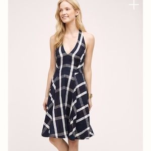 Anthropologie Plaid Halter Dress~ Eva Franco
