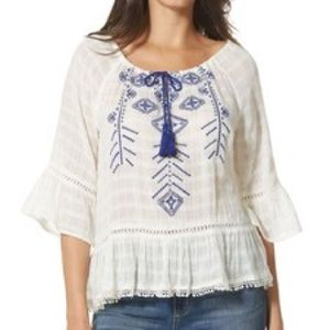 New Medina Embroidered Peplum Top with Tassels