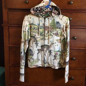 Oilily Deer Zip Up Jacket Size M