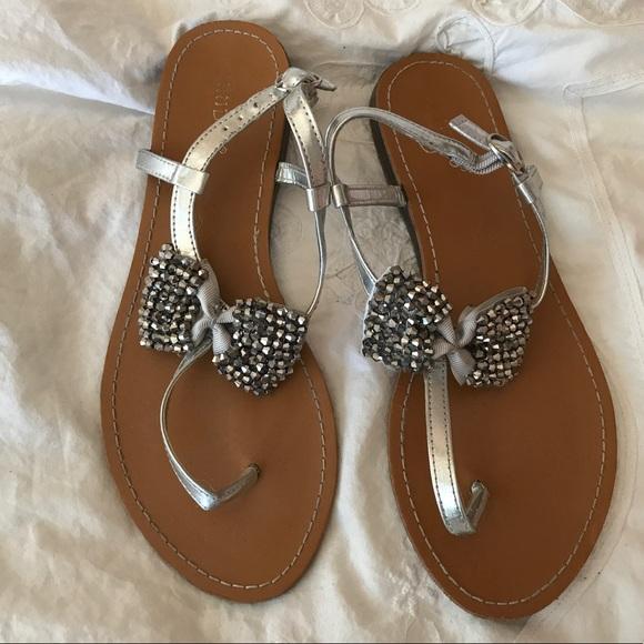 b17d28c5b734c4 Sparkle Bow ankle strap tan   silver sandal SZ 7.5.  M 59cea7e836d59407b801dc1c