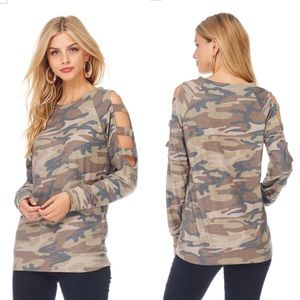 Tops - Camo Cold Shoulder Ladder Cutout Top