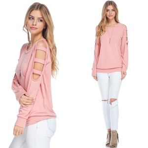 Tops - Cold Shoulder Ladder Cutout Top