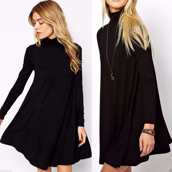 fd39f3e7c298 70 s Black Long Sleeve Turtleneck Swing Dress S-L