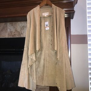 New Michael Kors Studded Suede Draped Khaki Vest S