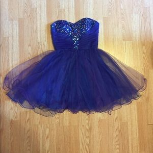 Purple and blue strapless dress