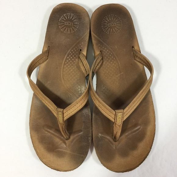 ad16bad1e88 UGG Australia Kayla Tan Leather Flip Flops Sandals