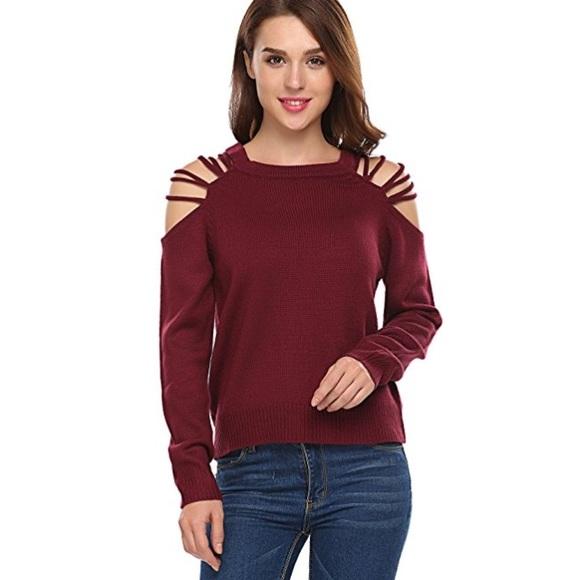 cb8d5cbfb2 SALE Strappy Cold Shoulder Cozy Knit Sweater