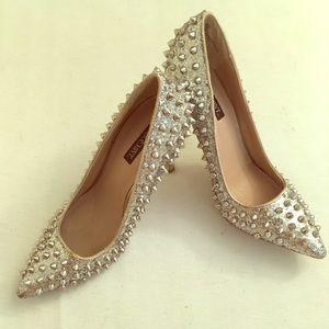 Shoemint silver glitter studded heels holiday glam